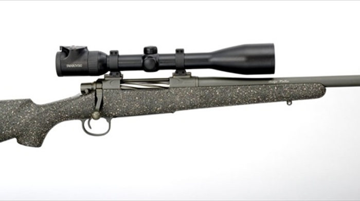 Ridge Walker: 8lbs of beauty in Desert Mix with Green Metal featuring Jarrett Tri-Lock receiver and hand-lapped barrel.